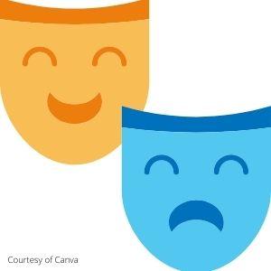 Happy and sad masks